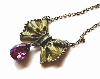 Amethyst purple stone drop bow pendant necklace