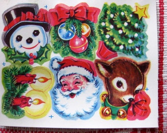 Classic Vintage Christmas Stickers, 9 Sheets, Santa, Reindeer, Snowman, Tree