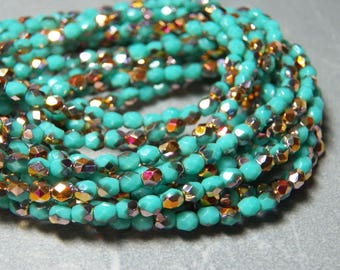 Turquoise Marea 3mm Faceted Glass Czech Round Beads (50)