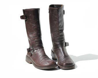 Espresso Brown Italian Leather Boots / size 7.5