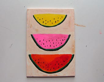 Watermelon Slices, painting on board