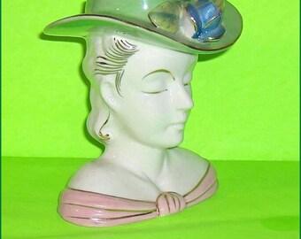 ON SALE   Head Vase Pretty Lady Flower Holder  Shafford Vintage Headvase Lovely Lady