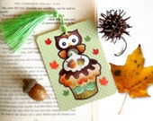 Thanksgiving Cupcake Gift Tag w/ Tassel, Owl Bookmark, Fall Gift Tag for Scrapbooking and Journaling
