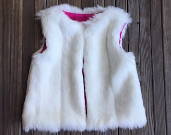 Faux Fur White Mink Vest, Mink, Girl, Baby, Pink, Fur, Faux Fur, Special Occasion, Fashion, Satin, Boutique, White, Holiday, Chic, White