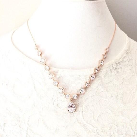 Rose Gold Wedding Necklace Rose Gold Rhinestone Necklace