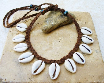 Brown Corded Polished Shiny Cowrie Shell Necklace - Unisex