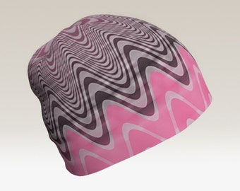 Groovy Girly Pink Grey and Puce Color Beanie Hat inSemi Transparent Wavy Chevron Lines Pulse Pattern