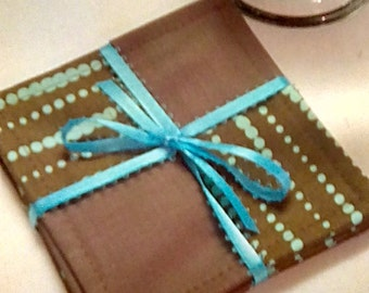 Mug Rug SET of 4, Turquoise Dots on Dk Brown, Fabric Coasters, Handmade, Hostess Gift, FREE Shipping in US