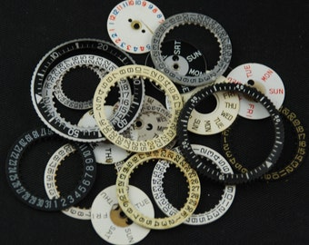 Vintage Antique Watch Dials Number Date Wheels Rings Steampunk Faces Parts O 54