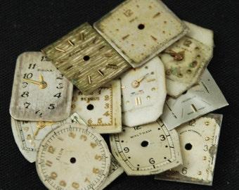 Vintage Antique Watch Dials Steampunk Faces Parts O 72