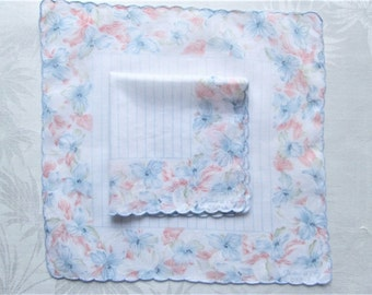 Vintage Handkerchief Set Signed Jean D'0rly Paris Peach Blue White Matching Hankies Iris Floral Geometric Scalloped Cotton Printed Hanky