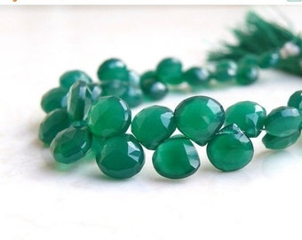 Final 51% off Sale Green Onyx Gemstone Briolette Faceted Heart 6.5mm to 7mm 28 beads 1/2 Strand
