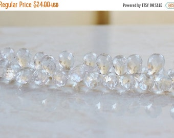 Final 51% off Sale Rock Crystal Quartz Gemstone Faceted Tear Drop Briolette 17mm 7 beads