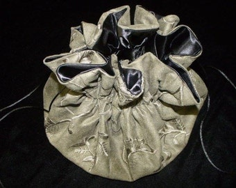 Victorian Renaissance Reticule Bag Sage Green  Embroidered Micro Suede Evening Bag Drawstring Purse