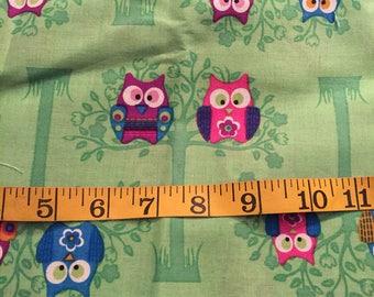 One Yard of Green Owl Fabric