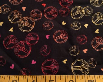 Half Yard of Black Peace Signs Fabric