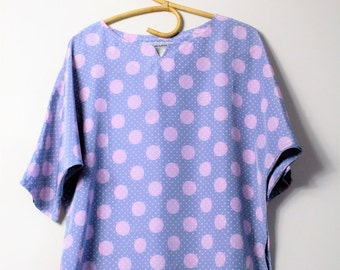 80's dot blouse // pink grey batwing top