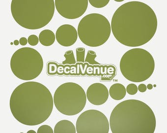 Olive Green Polka Dot Circles Wall Decals - Various sizes - Mix and Match dots vinyl stickers