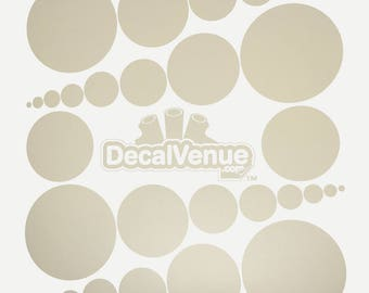 Beige Polka Dot Circles Wall Decals - Various sizes - Mix and Match dots vinyl stickers