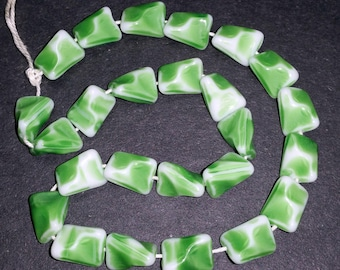 Vintage Glass Beads 12mm Leafy Green & White Unique Geometric Shape Made in W. Germany 24 Pcs.