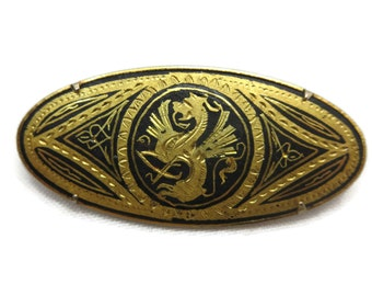 Dragon Brooch - Damascene, Gold Inlaid Steel, Costume Jewelry, Toledo