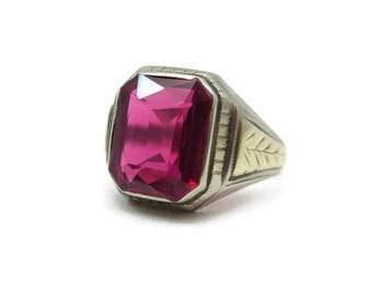 Mens Ruby Ring - 14k Gold, Statement Ring, White Gold, July Birthstone, Size 10.5