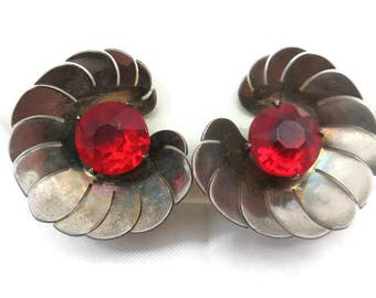 Sterling Silver Earrings - Ruby Red Glass Stone Jewelry, Screwback