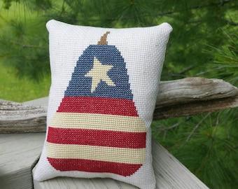 Americana Flag Sampler Cross Stitch Pear Pillow Ready to Ship