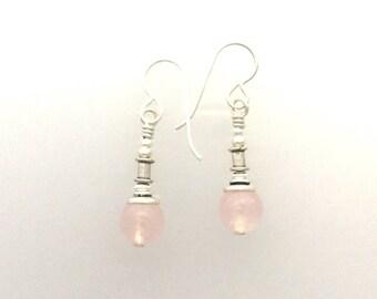 Rose Quartz and Sterling Silver Earrings @b