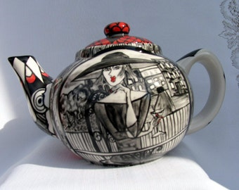 Ceramic Teapot Black & White and Red Impressionistic Lady's Faces Red and Black Geometric Accents on Etsy