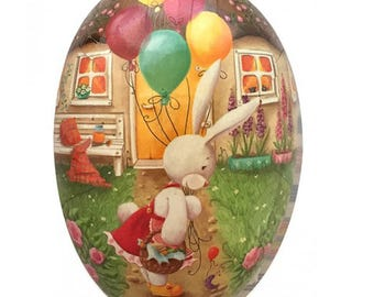 "German Paper Mache Easter Egg Box 4-1/2""  PME757S"