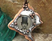 Large rustic copper and silver plate pendant OOAK original handmade Copper pendant DAPPER DAN
