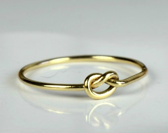 Gold knot ring, love knot ring, thin 9 carat gold friendship ring, tied 9k gold ring, promise ring, Valentine's ring, bff token, lovers ring