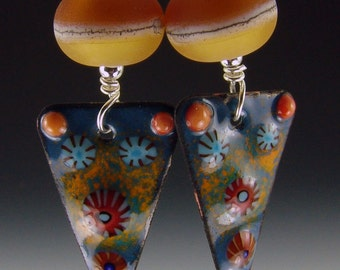 Amber two color earrings  with triangle slice matching enameled charms