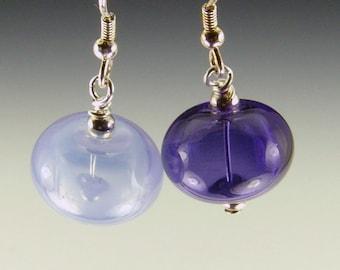 Crocus or Purple Hollow Lampwork Bead Earrings