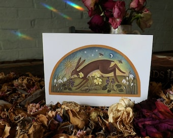 Journey Into Spring. Hare Greeting cards x3 With Envelopes.