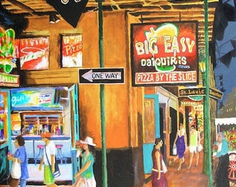 "New Orleans ""The Big Easy"" Daiquiris Bar French Quarter Mardi Gras Art Bourbon Street Prints Signed and Numbered"