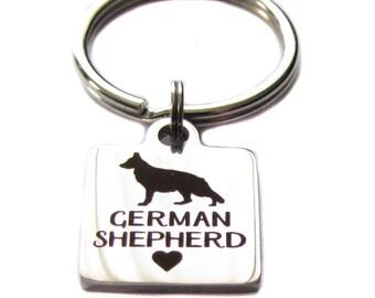 """Stainless Steel """"German Shepherd"""" Square Charm Keychain, Bag Charm, German Shepherd Lovers Gift"""