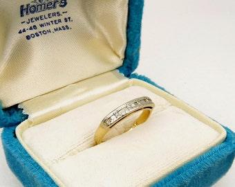 Vintage 14K Diamond Wedding Band White & Yellow Gold Engagement Ring with Diamonds 1940s