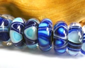 Banded Beauties ll - 4 Pairs of Lampwork Donut Beads
