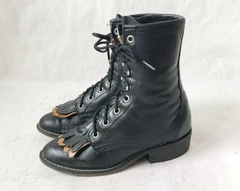 Vintage Black Leather ROPER BOOTS. Size 5 1/2 Women's