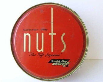 Vintage 1950 Double Kay Nuts Tin Container, Button Box, Sewing Box, Catchall, Orange w Gold and Black, Art Deco Typography