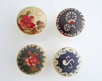 Set of 4  Antique Wooden Drawer, Cupboard, Cabinet Pull Knobs, Worn White w Antique Fabric Collage, Victorian Florals, Rustic  Hardware