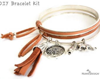 DIY Kit for 3 Silver Bracelets Leather Jewelry DIY Bracelet Project Gift Kit Boho Leather Bracelets Do It Yourself Creative Gift for Women