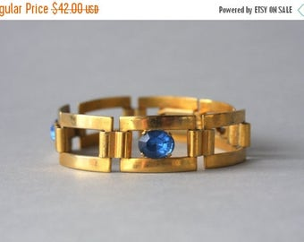STOREWIDE SALE 1920s Bracelet / Vintage 20s Sapphire Glass Bracelet / 1920s French Art Deco Panel Bracelet