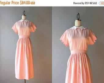 STOREWIDE SALE 1940s Dress / Vintage 40s Pale Pink Scalloped Dress / 40s Cotton Chambray Scallop Collar Dress S small