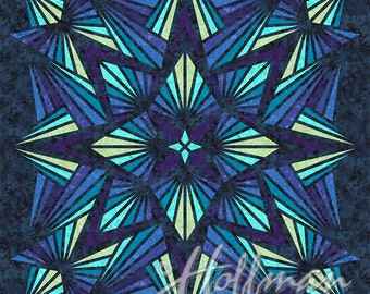 "Crystal Toppers Sapphire Digital Hoffman Fabric 42"" Panel"