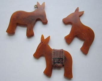 3 pcs. vintage bakelite tested donkeys burros ass partially worked unfinished