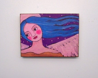 Angel Painting Woodblock Print Shabby Folk Art Angel Encaustic