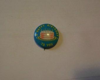 Vintage Happy Birthday Souvenir Pin Steampunk Upcycle
